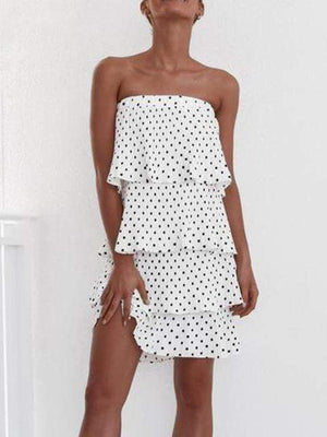 Off Shoulder Ruffle Polka Dot Party Mini Dress Skirt - Dresses - Zooomberg - Zoomberg