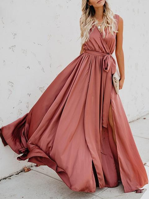 High Split Wrap Maxi Long Party Dress - zooomberg