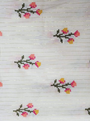 Cotton Embroidery Fabric with Gold Lurex
