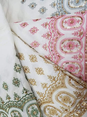 Cotton Palazzo Embroidery Fabric with Gold Sequins and One Side Border - Zooomberg