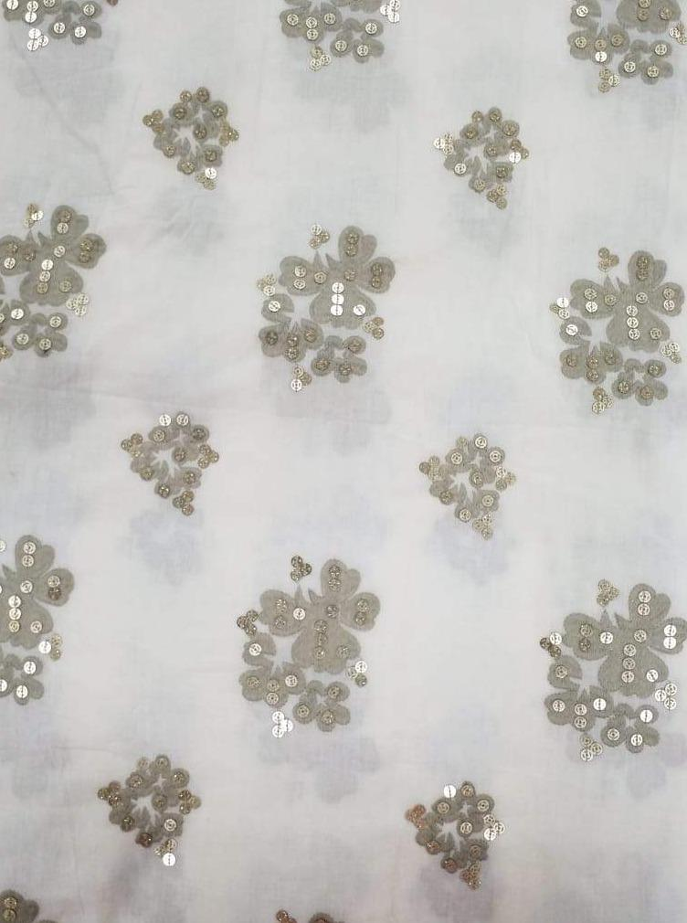 Cotton Embroidery Fabric with Gold Sequins