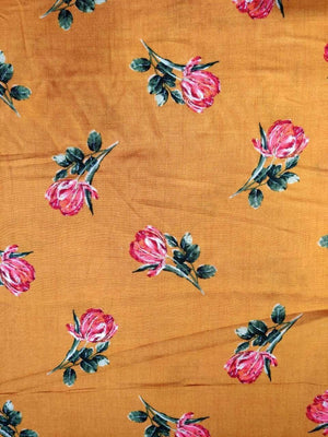 Rayon Classic Floral Printed Fabric With Gold Foil