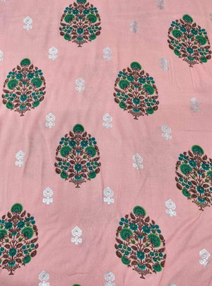 Rayon Floral Printed Fabric With Silver Foil