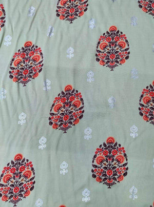 Rayon Floral Printed Fabric With Silver Foil - Zooomberg