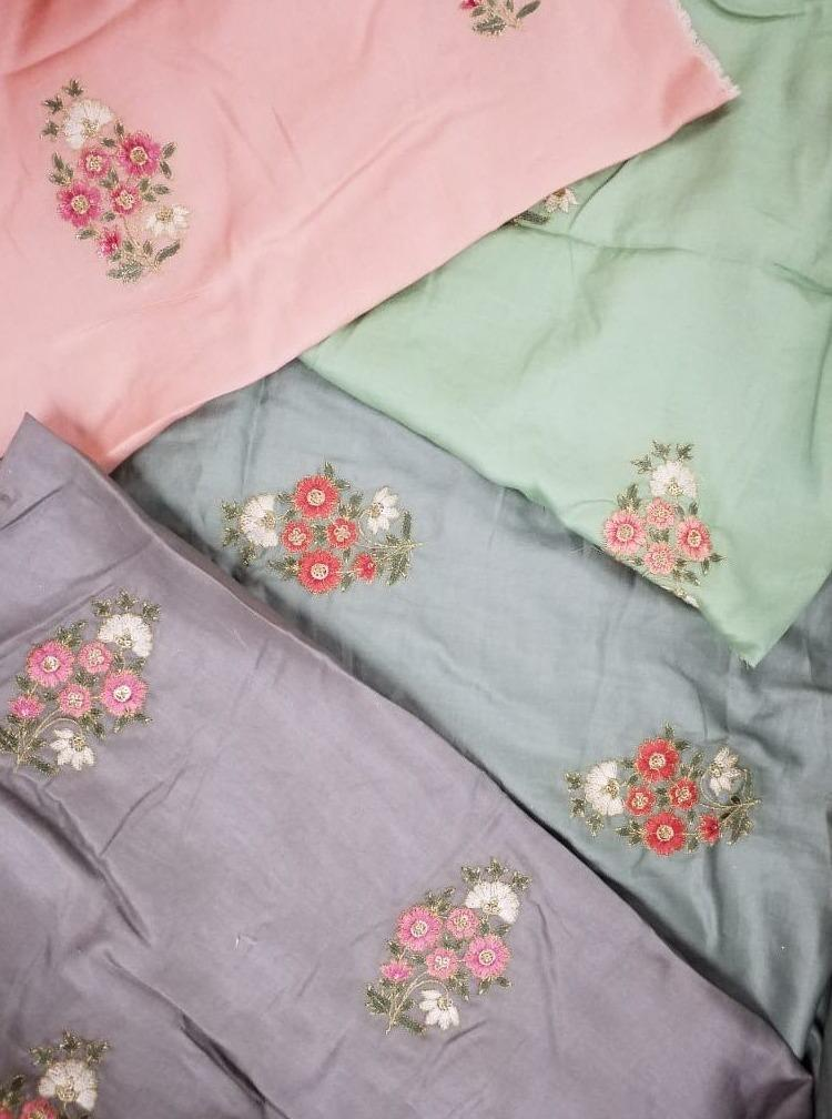 Linen Textured Floral Zari Embroidery Fabric with Foil and Sequins