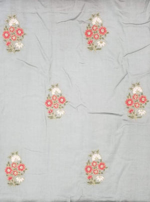 Linen Look Floral Zari Embroidery Fabric with Foil and Sequins