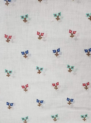 Linen Textured Floral Embroidery Fabric