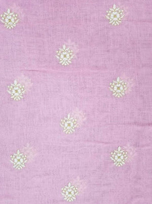 Linen Textured Zari Sparkle Embroidery Fabric