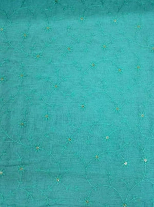 Chanderi Silk Voil Embroidery Fabric With Gold Sequins