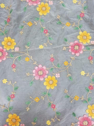 Fancy Organza Floral Zari Embroidery Fabric With Gold Sequins