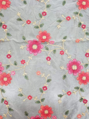 Organza Floral Zari Kashmiri Embroidery Fabric With Gold Sequins - Zooomberg