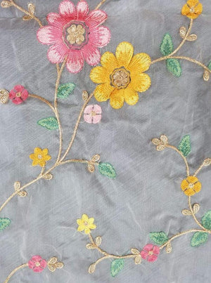 Organza Floral Zari Kashmiri Embroidery Fabric With Gold Sequins