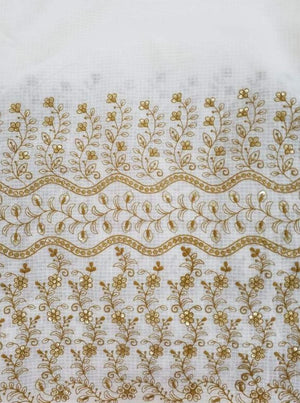 Checks Embroidery Fabric with Gold Sequins