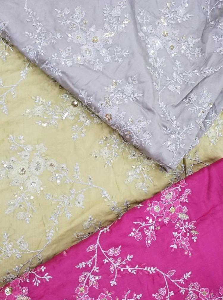 Fancy Satin Zari Embroidery Fabric with Gold Sequin