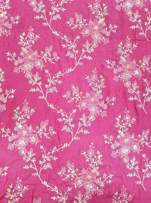 Satin Zari Embroidery Fabric with Gold Sequin