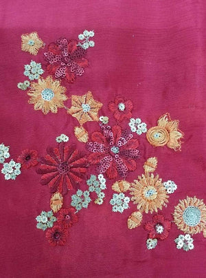 Chinon Chiffon Embroidery Fabric with Gold Sequins - Zooomberg