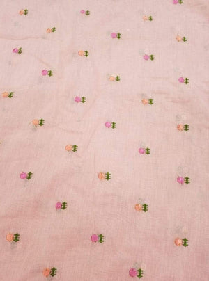 Floral Chanderi Silk Voil Embroidery Fabric - Zooomberg