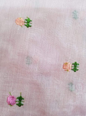 Floral Chanderi Silk Voil Embroidery Fabric