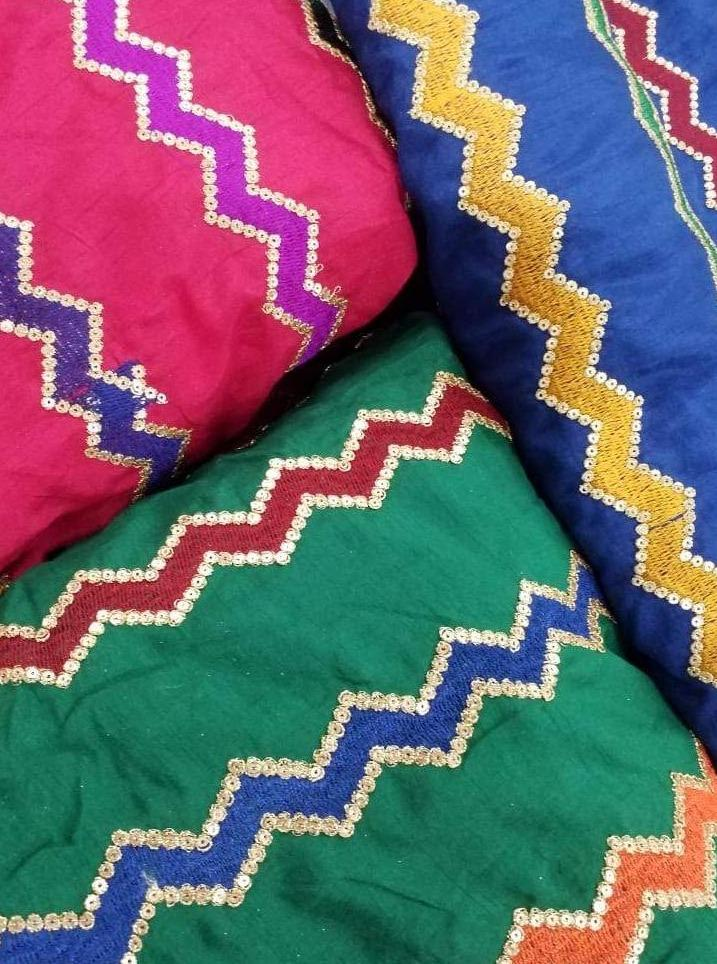 Chanderi Silk Zig-Zag Embroidery Fabric with Sequins