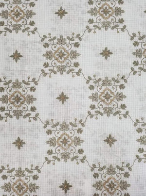 Cotton Kota Checks Floral Embroidery Fabric
