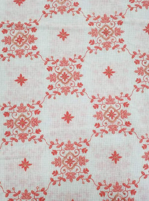 Cotton Kota Checks Floral Embroidery Fabric - Zooomberg