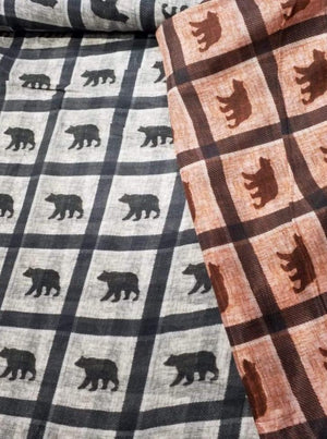 Pure Viscose Mulmul Digital Bear Printed Fabric