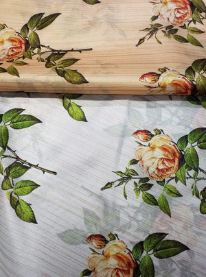 Satin Lurex Digital Rose Print Fabric with Gold Lurex