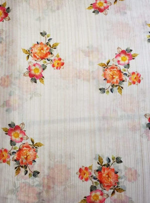 Satin Lurex Digital Rose Printed White Fabric with Gold Lurex