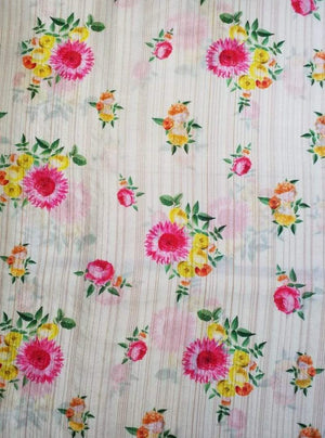 Satin Lurex Floral Digital Rose Printed Fabric with Gold Lurex