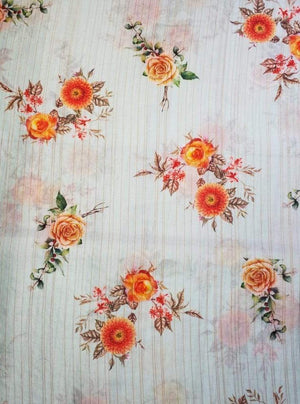 Satin Lurex Floral Digital Rose Printed White Fabric with Gold Lurex