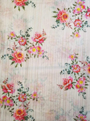 Satin Lurex Floral Digital Rose Print Pink Fabric with Gold Lurex