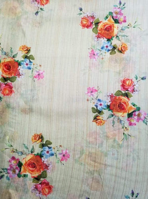 Satin Lurex Floral Digital Rose Printed Gold Fabric with Gold Lurex - Zooomberg