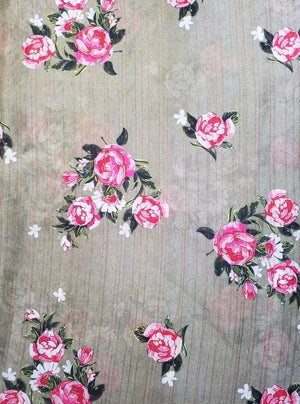 Satin Lurex Floral Digital Pink Rose Printed Bronze Fabric with Gold Lurex