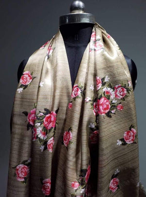Satin Lurex Floral Digital Pink Rose Printed Bronze Fabric with Gold Lurex - Zooomberg