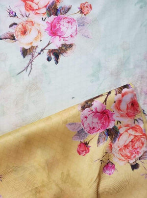 Linen Satin Digital Floral Printed Fabric with Gold Foil