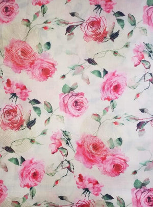 Linen Satin Digital Rose Printed Fabric with Gold Foil - Zooomberg