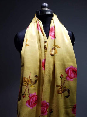 Linen Satin Digital Single Rose Printed Fabric with Gold Foil