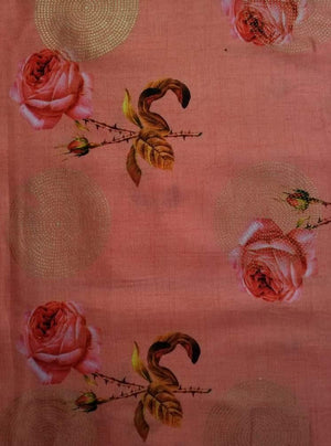 Linen Satin Digital Single Rose Printed Fabric with Gold Foil - Zooomberg