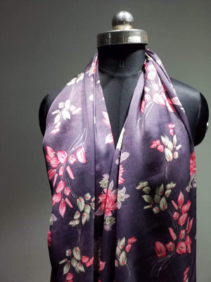 Satin Georgette Purple Color Digital Floral Printed Fabric - Zooomberg