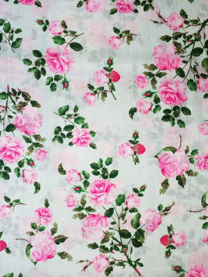 Satin Slub Digital Pink Rose Printed Fabric