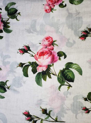Satin Slub Digital White Floral Printed Fabric - Zooomberg