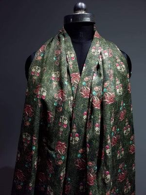 Pashmina Dark Green Digital Floral Printed Fabric