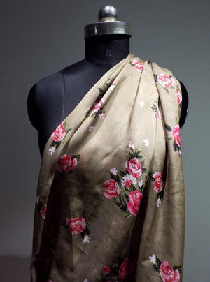 Satin Georgette Digital Floral Printed Bronze Fabric