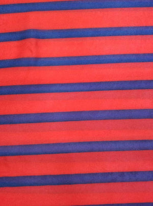 Satin Georgette Red Blue Stripes Digital Printed Fabric