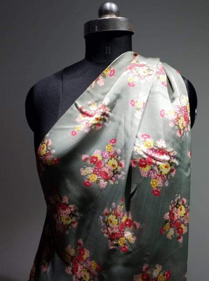 Satin Georgette Vintage Floral Digital Printed Fabric - Zooomberg