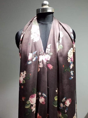 Satin Georgette Vintage Digital Floral Printed Brown Fabric - Zooomberg