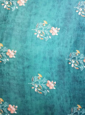 Fancy Digital Floral Printed Teal Fabric