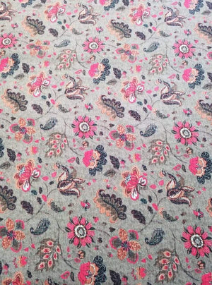 Fancy Continuous Digital Floral Printed Pink Fabric