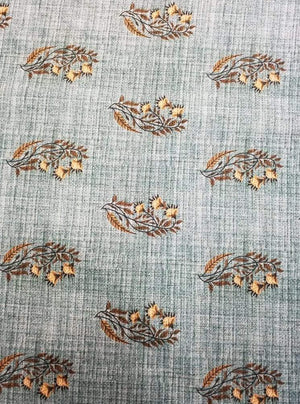 Fancy Gold Floral Digital Printed Sky Blue Fabric