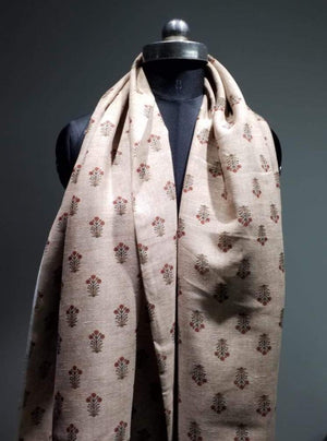 Linen Textured Floral Digital Flower Buds Printed Light Brown Fabric - Zooomberg